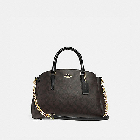 COACH f29683 SAGE CARRYALL IN SIGNATURE CANVAS BROWN/BLACK/IMITATION GOLD