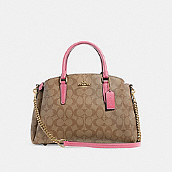 COACH F29683 - SAGE CARRYALL IN SIGNATURE CANVAS KHAKI/PINK RUBY/GOLD