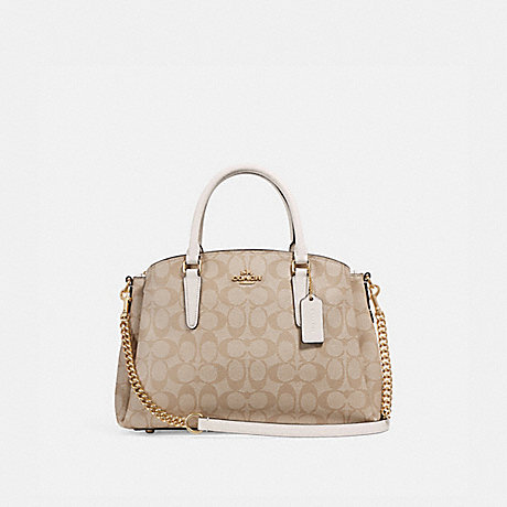 COACH f29683 SAGE CARRYALL IN SIGNATURE CANVAS LIGHT KHAKI/CHALK/IMITATION GOLD