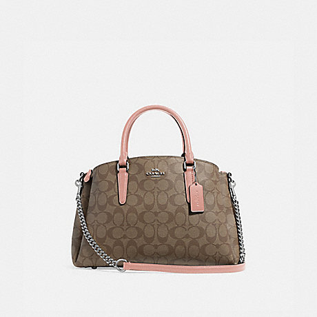 COACH F29683 SAGE CARRYALL IN SIGNATURE CANVAS<br>蔻驰SAGE包在签名画布 卡其/瓣/银