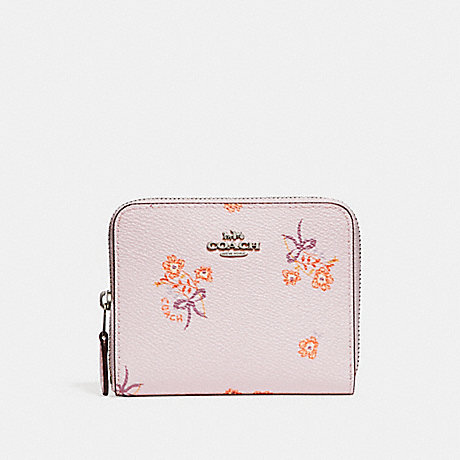 d3cd370811463 COACH F29685 SMALL ZIP AROUND WALLET WITH FLORAL BOW PRINT ICE PINK FLORAL  BOW/SILVER