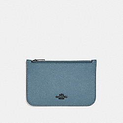 COACH F29688 Zip Card Case CHAMBRAY/DARK GUNMETAL
