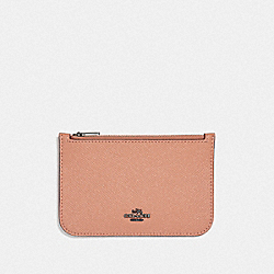 COACH F29688 Zip Card Case DARK BLUSH/DARK GUNMETAL