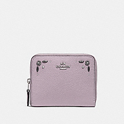 COACH F29689 - SMALL ZIP AROUND WALLET WITH PRAIRIE RIVETS DETAIL ICE PURPLE/SILVER