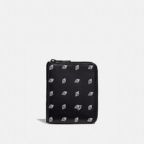 COACH SMALL ZIP AROUND WALLET WITH DOT DIAMOND PRINT - BLACK/CHALK - F29695