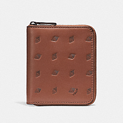 COACH F29695 Small Zip Around Wallet With Dot Diamond Print PEPPER/MAHOGANY