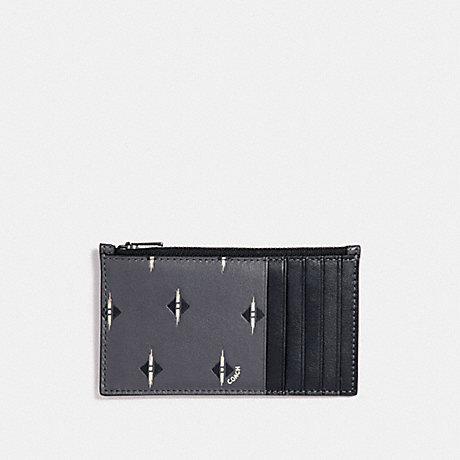 COACH F29700 ZIP CARD CASE WITH IKAT GEO PRINT GRAPHITE