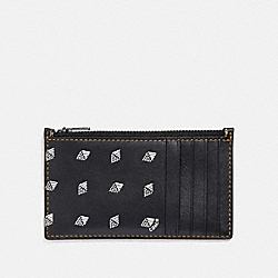 COACH F29705 Zip Card Case With Dot Diamond Print BLACK/CHALK