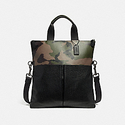 CHARLES FOLDOVER TOTE WITH CAMO PRINT - f29706 - DARK GREEN MULTI/BLACK ANTIQUE NICKEL