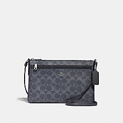 EAST/WEST CROSSBODY WITH POP-UP POUCH IN SIGNATURE CANVAS - f29725 - denim/midnight/silver