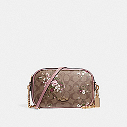 ISLA CHAIN CROSSBODY IN SIGNATURE CANVAS WITH FLORAL BUNDLE PRINT - f29732 - khaki/multi/imitation gold