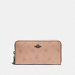 COACH F29743 - ACCORDION ZIP WALLET WITH WESTERN HEART PRINT DK/BEECHWOOD WESTERN HEART