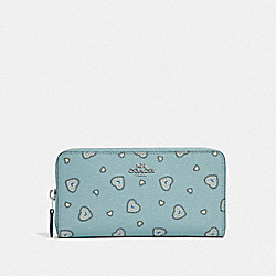 COACH F29743 - ACCORDION ZIP WALLET WITH WESTERN HEART PRINT SV/LIGHT TURQ WESTERN HEART