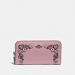 COACH F29746 - ACCORDION ZIP WALLET WITH HEARTS DUSTY ROSE/BLACK COPPER