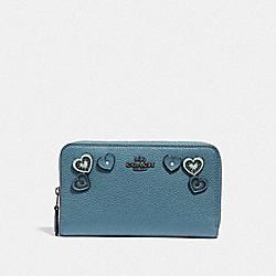 COACH F29748 Medium Zip Around Wallet With Hearts DK/CHAMBRAY