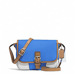 COACH F29762 Hadley Twill Field Bag SILVER/BRILLIANT BLUE