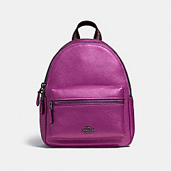 MINI CHARLIE BACKPACK - F29795 - METALLIC CERISE/BLACK ANTIQUE NICKEL