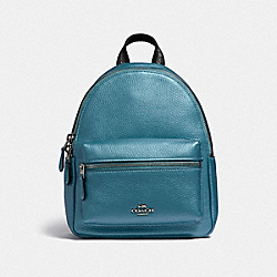 COACH F29795 Mini Charlie Backpack METALLIC SKY BLUE/SILVER