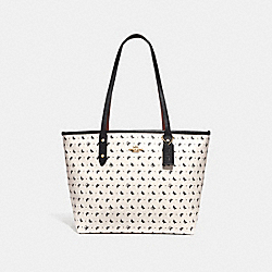 COACH F29803 City Zip Tote With Butterfly Dot Print CHALK/BLACK/LIGHT GOLD