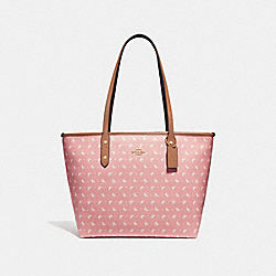 CITY ZIP TOTE WITH BUTTERFLY DOT PRINT - f29803 - Blush/Chalk/LIGHT GOLD