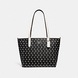 COACH F29803 City Zip Tote With Butterfly Dot Print BLACK/CHALK/SILVER