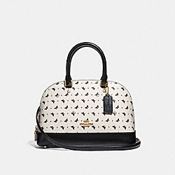 MINI SIERRA SATCHEL WITH BUTTERFLY DOT PRINT - f29804 - CHALK/BLACK/LIGHT GOLD