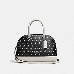 MINI SIERRA SATCHEL WITH BUTTERFLY DOT PRINT - f29804 - BLACK/CHALK/SILVER