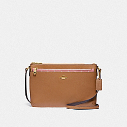 EAST/WEST CROSSBODY WITH POP-UP POUCH WITH BUTTERFLY DOT PRINT - F29805 - BLUSH/CHALK/LIGHT GOLD