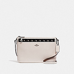 EAST/WEST CROSSBODY WITH POP-UP POUCH WITH BUTTERFLY DOT PRINT - F29805 - BLACK/CHALK/SILVER