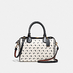 MINI BENNETT SATCHEL WITH BUTTERFLY DOT PRINT - f29806 - CHALK/BLACK/LIGHT GOLD