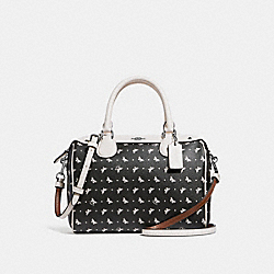 MINI BENNETT SATCHEL WITH BUTTERFLY DOT PRINT - f29806 - BLACK/CHALK/SILVER