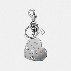 PERFORATED HEART BAG CHARM - f29817 - SILVER/SILVER