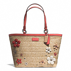 COACH F29861 Straw Floral Applique Tote
