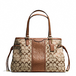 SIGNATURE STRIPE WITH SNAKE DRAWSTRING CARRYALL - f29863 - IMITATION METAL/KHAKI/SADDLE