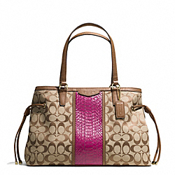 COACH F29863 - SIGNATURE STRIPE WITH SNAKE DRAWSTRING CARRYALL IMITATION METAL/KHAKI/CHERRY