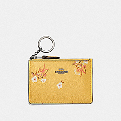 COACH F29872 Mini Skinny Id Case With Floral Bow Print DK/SUNFLOWER FLORAL BOW
