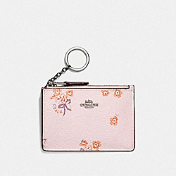 COACH F29872 Mini Skinny Id Case With Floral Bow Print SV/ICE PINK FLORAL BOW