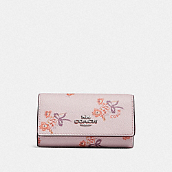 COACH F29873 - SIX RING KEY CASE WITH FLORAL BOW PRINT SV/ICE PINK FLORAL BOW