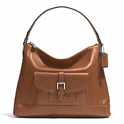 COACH F29881 - CHARLIE LEATHER HOBO  SILVER/SADDLE