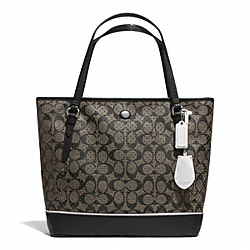 COACH F29886 - PEYTON PERFORATED PVC ZIP TOP TOTE SILVER/BLACK/WHITE