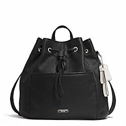 COACH F29895 - PARK LEATHER DRAWSTRING BACKPACK SILVER/BLACK