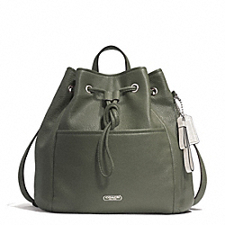COACH F29895 - PARK LEATHER DRAWSTRING BACKPACK SILVER/OLIVE