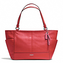 COACH F29898 - PARK LEATHER CARRIE TOTE SILVER/VERMILLION