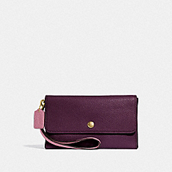 COACH F29911 Small Triple Wristlet In Colorblock PLUM MULTI/LIGHT GOLD