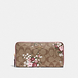ACCORDION ZIP WALLET IN SIGNATURE CANVAS WITH FLORAL BUNDLE PRINT - f29931 - khaki/multi/imitation gold