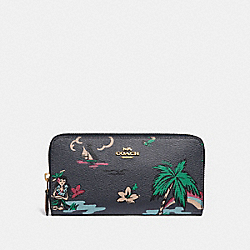 COACH F29933 Accordion Zip Wallet With Scenic Hawaiian Print MIDNIGHT MULTI/IMITATION GOLD