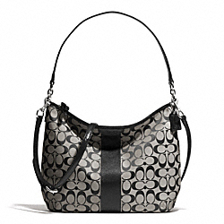 COACH F29941 Signature Stripe Convertible Hobo SILVER/BLACK/WHITE/BLACK