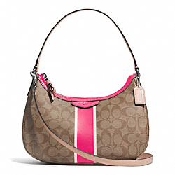 COACH F29942 Signature Stripe Demi Crossbody SILVER/KHAKI/POMEGRANATE