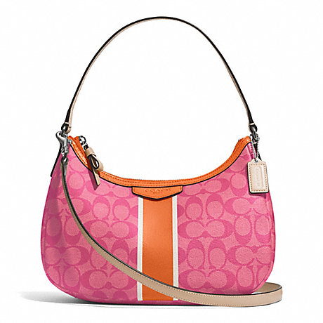 COACH F29942 SIGNATURE STRIPE DEMI CROSSBODY SILVER/PINK/ORANGE