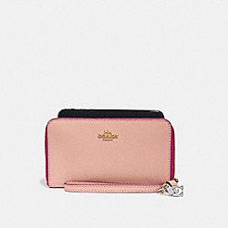 COACH F29943 Phone Wallet With Charms NUDE PINK/IMITATION GOLD